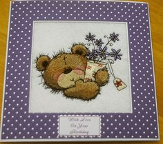 complete embroidered Birthday card very cute Teddy and purple bouquet