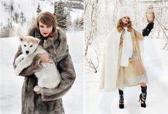 Russian girls. Russian beauty. Fur, winter fashion, snow, dog