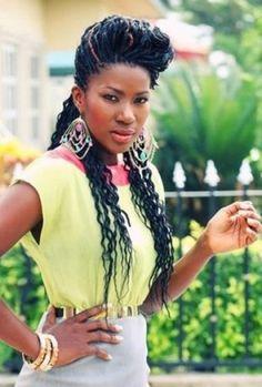 Long Small Half-Up Braids for Black Women