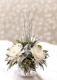 Winter Flower Arrangements Holiday Tablescapes In White With Greens                                                                                                                                                                                 More