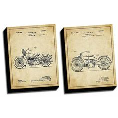 Picture it on Canvas 'Harley Vintage Patent Drawings' 2 Piece Graphic Art on Canvas Set