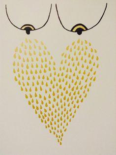Liquid Gold Screenprint - Hand-Printed Silkscreen Poster - Breastfeeding - Baby Shower on Etsy, $20.00