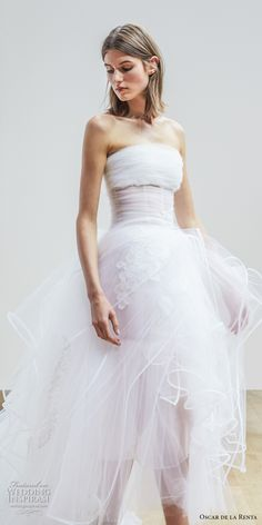 oscar de la renta spring 2018 bridal strapless straight across ruched bodice tulle skirt romantic high low a  line wedding dress chapel train (03) mv -- Oscar de la Renta Spring 2018 Wedding Dresses