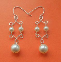 pearl  earrings made on wire jig