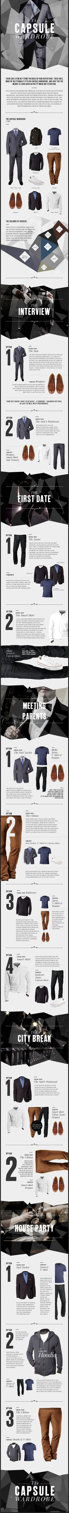 Men's Essentials:  How to build a Time Capsule Wardrobe.  These items will give you the means to look good in pretty much any situation,  No matter what life throws at you. ===> FOLLOW US ON PINTEREST for Style Tips, Men's Basics, Men's Essentials on anything, OUR SALES etc... ~ #VujuWear
