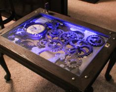 Coffee Table: Industrial Gears Steampunk Sculptural by brucegray1
