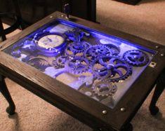 Steampunk table gears move, industrial, Nicholas Rossi, RossiNicholas on Etsy, kinetic art, custom table, cocktail table