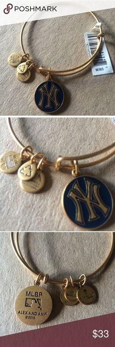 ⚾️NWT Alex and Ani NY Yankees bangle⚾️ Brand new with tags...rafailan gold bangle with navy blue apoxy. From a smoke and pet free home. ❌NO TRADES❌ Alex & Ani Jewelry Bracelets