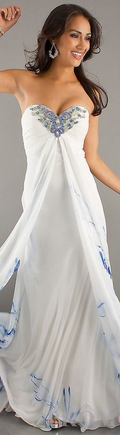 Formal long dress #white #strapless