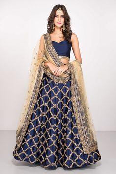 largest fashion rental service Wedding Dress Lehenga, Rent MALVIKA TALWAR Navy Blue Embroidered Lehenga Choli With Dupatta at Flyrobe Indian Bridal Fashion, Indian Wedding Outfits, Indian Outfits, Indian Weddings, Indian Engagement Outfit, Romantic Weddings, Indian Attire, Indian Wear, Indian Suits Punjabi