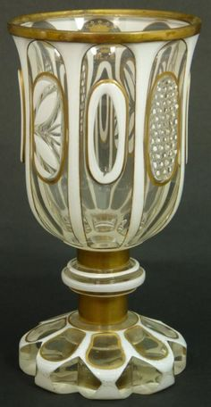ANTIQUE MOSER BOHEMIAN MILK TO CLEAR GLASS GOBLET : Lot 490