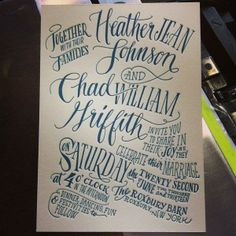 Hand lettered invitation letterpress printed in teal ink for a Roxbury, New York wedding.  Designed and printed by Ladyfingers Letterpress.