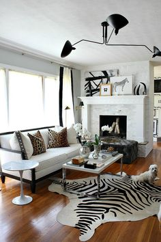 Glam Decor // Bliss at Home House Design, Rugs In Living Room, Decor, Home Living Room, African Room, Home, Cowhide Rug Living Room, Zebra Decor, African Living Rooms