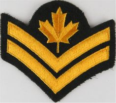 Master Corporal (Maple Leaf Over 2 Chevrons) Canada Yellow On Dark Green NCO or Officer Cadet rank badge for sale Military Ranks, Royal Marines, Royal Air Force, Armed Forces, Hulk, Badges, Chevron, Patches, Canada