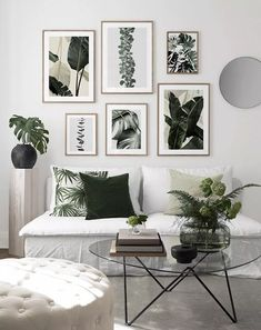 Create your wall of frames with Desenio Clem Around The Corner plant pattern urban minimalist Scandinavian jungle atmosphere in the white living room can Rooms Home Decor, Bedroom Decor, Inspiration Wand, Leaf Wall Art, White Couches, Minimalist Scandinavian, Living Room Pictures, Nordic Design, Nordic Style