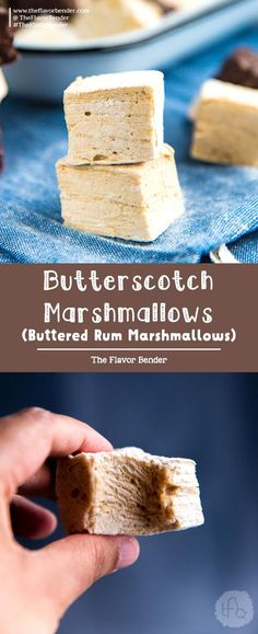 Butterscotch Marshmallows (Buttered Rum Marshmallows) - The Flavor Bender Butterscotch marshmallows (or buttered rum marshmallows) - soft, buttery and fluffy marshmallows that are easy to make, delicious to eat and perfect for gift giving too! Tolle Desserts, Köstliche Desserts, Great Desserts, Delicious Desserts, Dessert Recipes, Recipes With Marshmallows, Homemade Marshmallows, Homemade Candies, Marshmallow Recipes