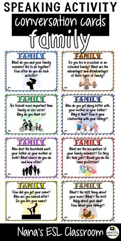 Ignite conversation in your classroom with these engaging conversation starter cards about family. A total of 40 cards with one or more questions per card. English Activities, Kids Learning Activities, Vocabulary Activities, Preschool Worksheets, Leadership Activities, English Fun, English Words, English Lessons, Learn English