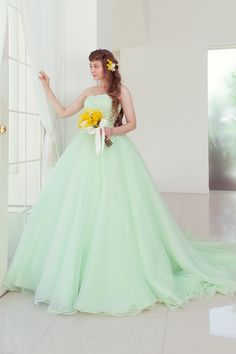 美しいペールグリーンのキュートなカラードレス|SS1960GR