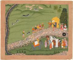 Maharana Sangram Singh II and sardars before a hunt