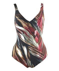 Another great find on #zulily! Red & Brown Brushstroke V-Neck One-Piece - Plus by Diva Swim #zulilyfinds