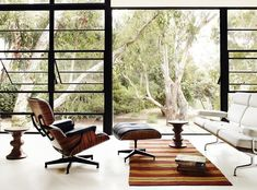 The Eames Lounge Chair & Ottoman is great, but I absolutely love the sliding window doors..