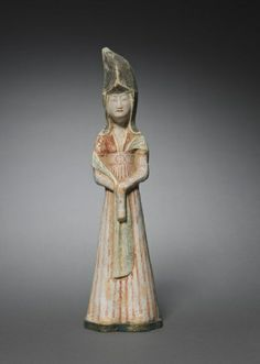 Court Lady with Tall Headdress: Tomb Figurine, 2nd half 7th Century China, Tang dynasty (618-906)