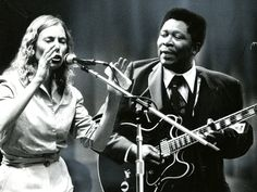 Joni Mitchell and BB King at the Bread and Roses concert. Oct. 4, 1980.