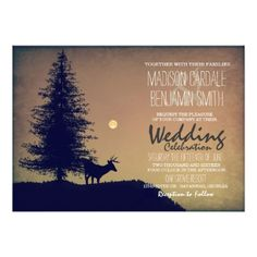 Rustic Deer Pine Tree Country Wildlife Wedding Invitations for a nature inspired, wildlife or hunting themed wedding. Country Wedding Cakes, Country Style Wedding, Wedding Cake Rustic, Country Weddings, Country Wedding Invitations, Rustic Invitations, Invitation Set, Shower Invitations, Invite