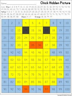 Chick Hidden Picture in a chart ~ Perfect for spring! French Lessons, Spanish Lessons, Teaching French, Teaching Spanish, Japanese Language, German Language, 100 Chart, Math Multiplication, Hidden Pictures