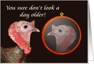 you sure don't look a day older! turkey. humor Card by Greeting Card Universe. $3.00. 5 x 7 inch premium quality folded paper greeting card. Birthday greeting cards & photo cards are available at Greeting Card Universe. Send a paper card to your friends and family this year. Send a paper Birthday card from Greeting Card Universe this year. This paper card includes the following themes: Turkey, You sure don't look a day older, and reflection. Greeting Card Universe has th...