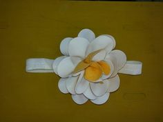 Haarband met xxl leren bloem € 5,00