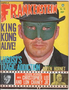 """Castle Of Frankenstein #10: February 1967, F, Green Hornet/Van Williams cover with blurb on the TV series inside (only 1 Bruce Lee photo), Bela Lugosi's drug addiction, Christopher Lee interview, King Kong, Lon Chaney Jr. interview, """"Adventures of Rat Pfink and Boo Boo,"""" """"Curse of the Fly,"""" TV Movie Guide, Wally Wood and Will Eisner spot illos, new film reviews, and more! $40"""