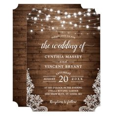 Rustic Wood Twinkle String Lights Lace Wedding Invitation   Zazzle.com Lace Wedding Invitations, Rehearsal Dinner Invitations, Wedding Rehearsal, Rustic Invitations, Wedding Invitation Templates, Rehearsal Dinners, Wedding Envelopes, Wedding Stationery, Invitation Cards