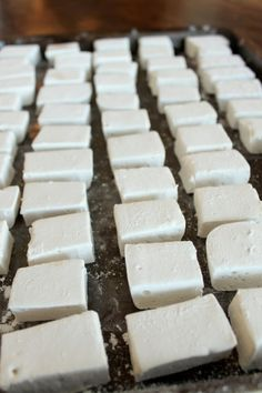 DIY Homemade Marshmallows Once You Try Never Go Back    12 sheets gelatin*  2 cups sugar  1 cup light corn syrup  1/2 cup water  2 teaspoons pure vanilla extract  Pinch of salt  2/3 cup confectioners' sugar, sifted, plus more for dusting  Grease an 9×13-inch pan with shortening, using a paper towel to rub it lightly and evenly onto the bottom, s