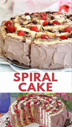 This unique Raspberry Almond Spiral Cake is unlike any other cake you'll make! It's surprisingly easy to construct, gorgeous, and delicious! | From SugarHero.com #sugarhero #raspberry #almond #spiralcake