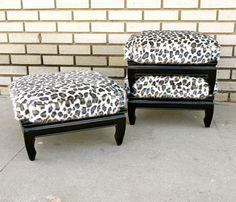 Vintage Leopard Stools