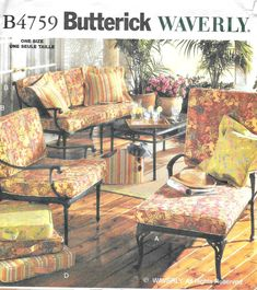 """WAVERLY Outdoor Living Sewing Pattern - UNCUT 2006 Butterick B4759 - 4"""" Deep Replacement Cushions  in Various Sizes, Pillows, Rug Border Waverly Fabric, Replacement Cushions, Owning A Cat, Outdoor Furniture Sets, Outdoor Decor, Etsy Shipping, Pillow Covers, Outdoor Living, Living Spaces"""