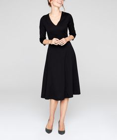 Another great find on #zulily! Black V-Neck A-Line Dress #zulilyfinds