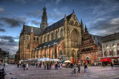 Grote Markt in Haarlem with view on De Grote or Sint-Bavo church,