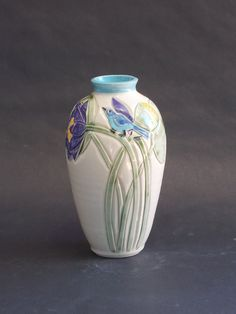 Arts and Crafts Mission Style Lotus Blue Bird Vase by CindySearles, $50.00