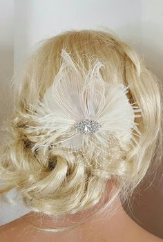 Ivory Bridal Fascinator Wedding Hair Clip Ivory by kathyjohnson3