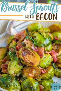 These Stovetop Brussel Sprouts with Bacon are a bit crispy on the outside and tender on the inside. Seasoned with garlic and thyme!