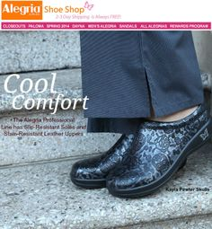 Find cool comfort in the Kayla Pewter Skulls! | Alegria Shoe Shop #AlegriaShoes