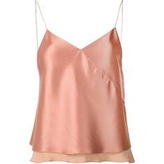 Edun twill satin bias camisole ($234) ❤ liked on Polyvore featuring intimates, camis, tops, satin cami, pink cami, satin camisole, pink camisole and edun