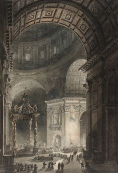 The Illumination of the Cross in Saint Peter's Basilica on Good Friday, by Giovanni Battista Piranesi (etching) and Louis Jean Desprez (watercolor), at the Los Angeles County Museum of Art, 1787