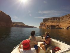 On our powerboat Exploring Lake Powell
