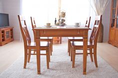 #Essgruppe 140cm Gotland - Esstisch & 6 Stühle - Pinie massiv - honigbraun - gebeizt & lackiert