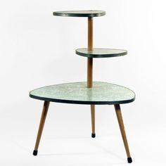Original 50s Vintage Display German Green Table Plant Stand Mid Century