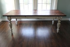 harvest table / farm table. I want this table with different style chairs of different colors.