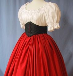 Pirate Wench Costume  Long Skirt in Scarlet by stitchintimedesigns, $35.00